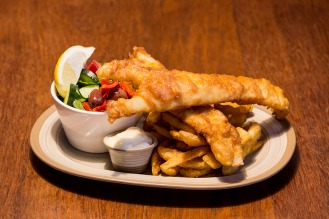 Beer battered flat head with chips and salad.